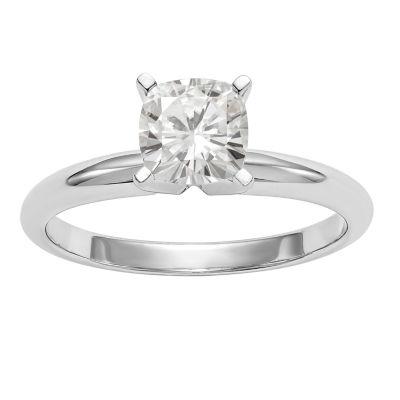 Womens 5/8 CT. T.W. White Moissanite 14K White Gold Round Engagement Ring