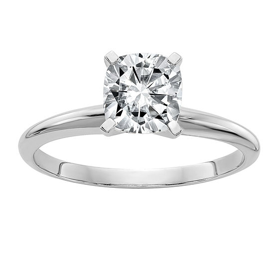 Womens 1 CT. T.W. White Moissanite 14K White Gold Round Solitaire Engagement Ring