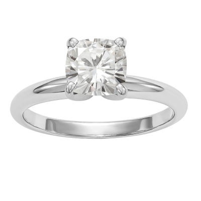Womens 1 1/2 CT. T.W. White Moissanite 14K White Gold Round Engagement Ring