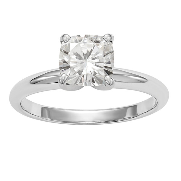 Womens 1 3/4 CT. T.W. Cushion White Moissanite 14K Gold Engagement Ring