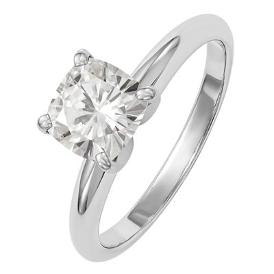 Womens 1 3/4 CT. T.W. White Moissanite 14K White Gold Round Solitaire Engagement Ring