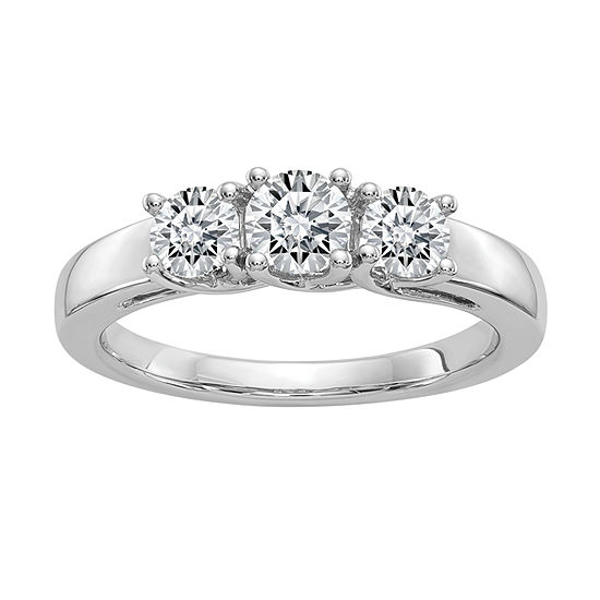 Womens 1 CT. T.W. White Moissanite 14K White Gold Round 3-Stone Engagement Ring