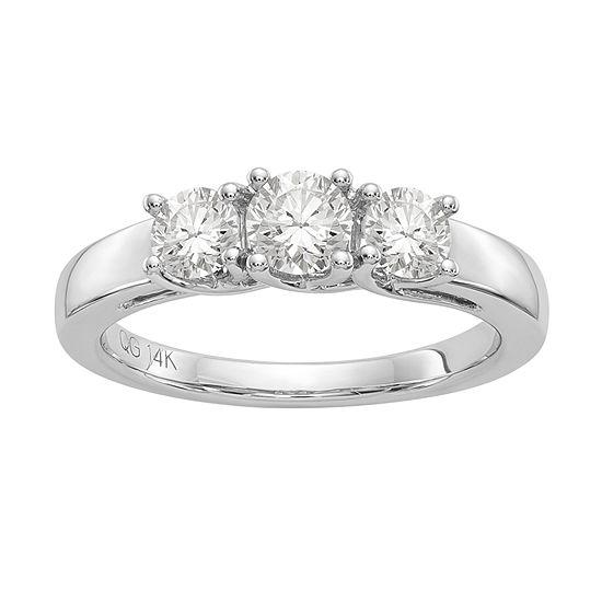 Womens 1 7/8 CT. T.W. White Moissanite 14K White Gold Round 3-Stone Engagement Ring