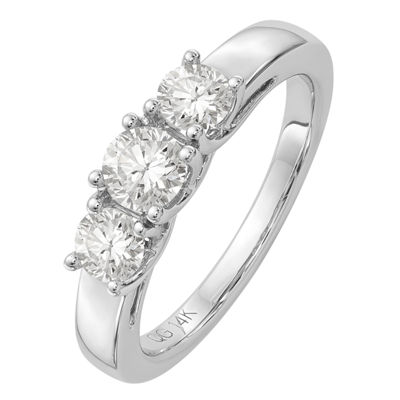 Womens 1 7/8 CT. T.W. White Moissanite 14K White Gold Round 3-Stone Ring
