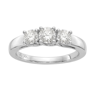 Womens 7/8 CT. T.W. Princess White Moissanite 14K Gold 3-Stone Ring