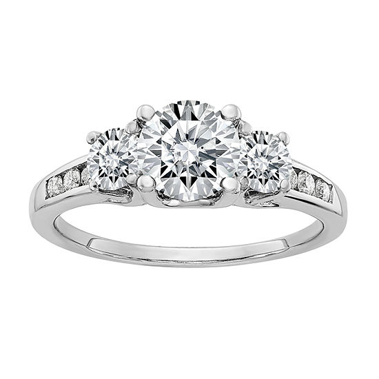Womens 1 1/2 CT. T.W. White Moissanite 14K White Gold Round 3-Stone Engagement Ring