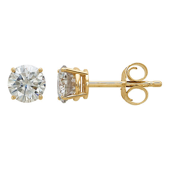 5 8 Ct Tw White Moissanite 14k Gold 45mm Round Stud Earrings