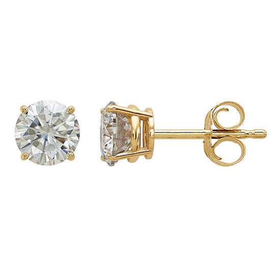 7/8 CT. T.W. White Moissanite 14K Gold 5mm Round Stud Earrings