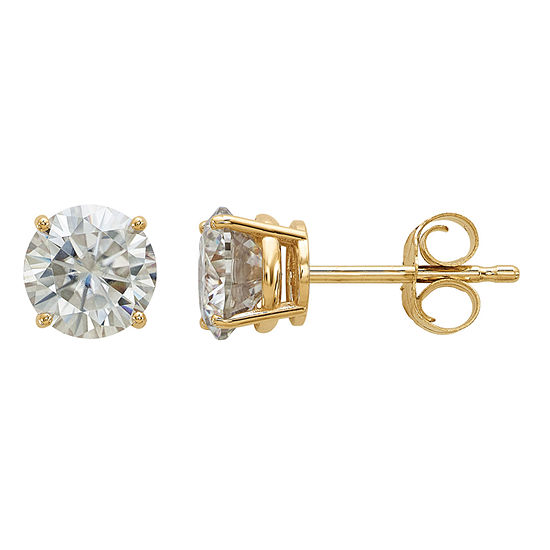 1 1/8 Ct. T.W. White Moissanite 14K Gold 5.5mm Round Stud Earrings
