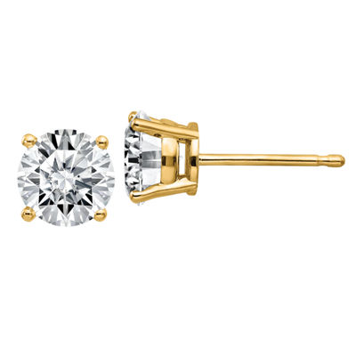1 1/2 CT. T.W. White Moissanite 14K Gold 6mm Round Stud Earrings