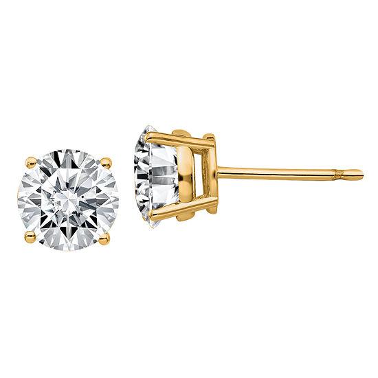 1 7/8 Ct. T.W. White Moissanite 14K Gold 6.5mm Round Stud Earrings
