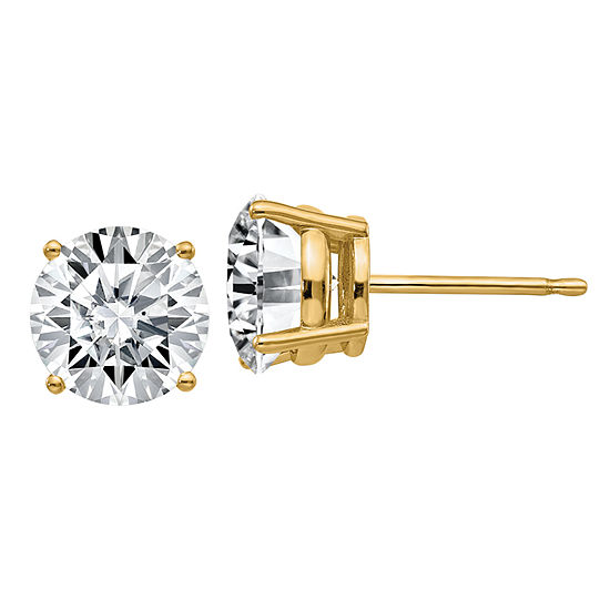 3 CT. T.W. White Moissanite 14K Gold 7.5mm Round Stud Earrings
