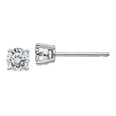 3/8 CT. T.W. White Moissanite 14K White Gold 4mm Round Stud Earrings