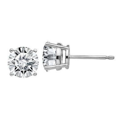 1 1/8 Ct. T.W. White Moissanite 14K White Gold 5.5mm Round Stud Earrings