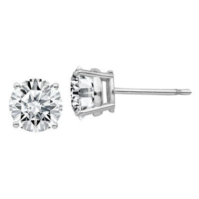 1 7/8 Ct. T.W. White Moissanite 14K White Gold 6.5mm Round Stud Earrings