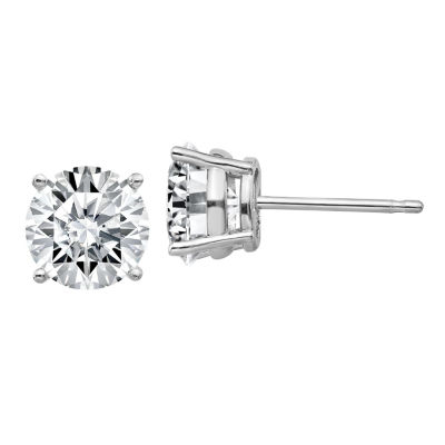 2 1/3 CT. T.W. White Moissanite 14K White Gold 7mm Round Stud Earrings