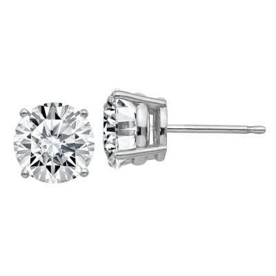 3 CT. T.W. White Moissanite 14K White Gold 7.5mm Round Stud Earrings