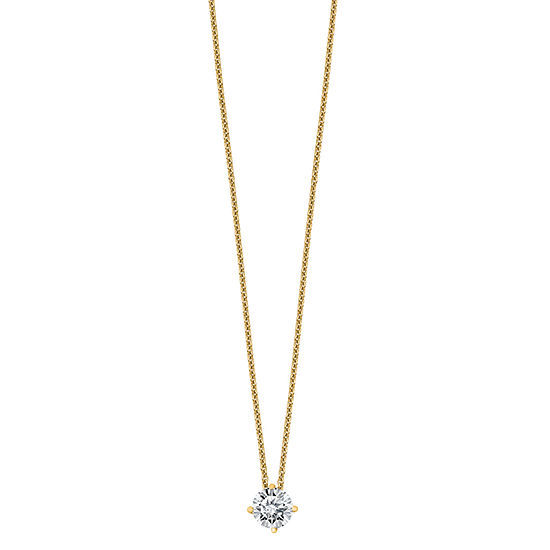 Womens 2-pc. 3/4 CT. T.W. White Moissanite 14K Gold Round Pendant Necklace Set