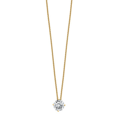 Womens 2-pack 1 1/2 CT. T.W. White Moissanite 14K Gold Round Pendant Necklace Set