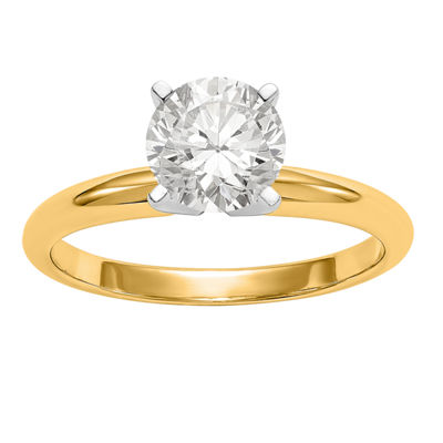 Womens 3/8 CT. T.W. White Moissanite 14K Gold Round Engagement Ring
