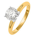 Womens 3/8 CT. T.W. White Moissanite 14K Gold Round Solitaire Engagement Ring