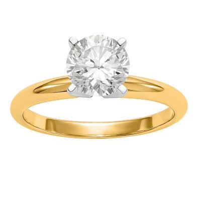 Womens 3/4 CT. T.W. White Moissanite 14K Gold Round Engagement Ring