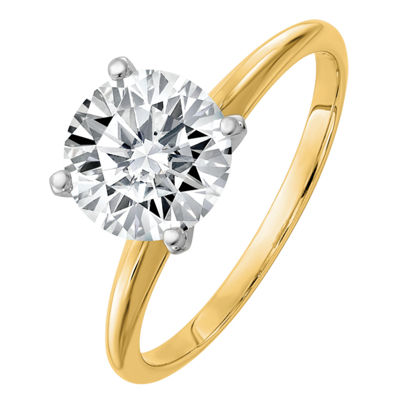 Womens 1 CT. T.W. White Moissanite 14K Gold Round Engagement Ring