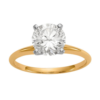Womens 1 1/2 CT. T.W. White Moissanite 14K Gold Round Engagement Ring