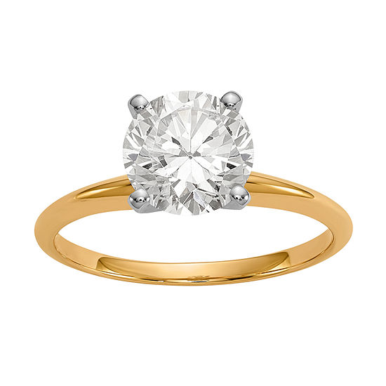 Womens 1 1/2 CT. T.W. White Moissanite 14K Gold Round Solitaire Engagement Ring