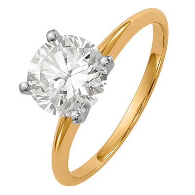 Womens 1 3/4 CT. T.W. White Moissanite 14K Gold Round Engagement Ring