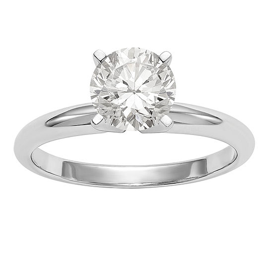 Womens 3/8 CT. T.W. White Moissanite 14K White Gold Round Solitaire Engagement Ring