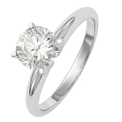 Womens 3/4 CT. T.W. White Moissanite 14K White Gold Round Engagement Ring