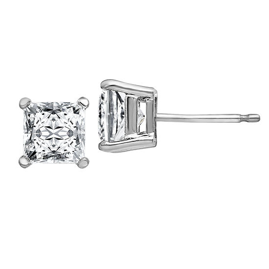 1 3/8 CT. T.W. White Moissanite 14K White Gold 5mm Square Stud Earrings
