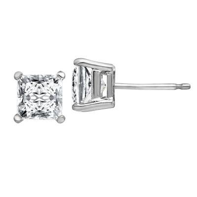 1 3/4 CT. T.W. White Moissanite 14K White Gold 5.5mm Square Stud Earrings