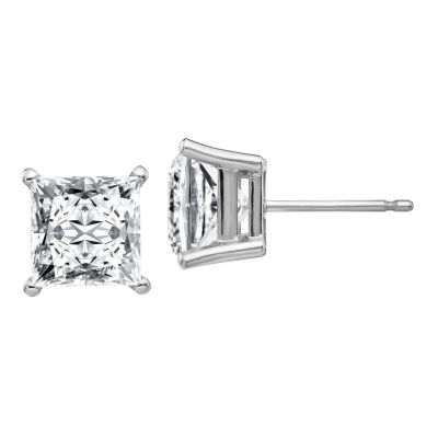 3 CT. T.W. White Moissanite 14K White Gold 6.5mm Square Stud Earrings