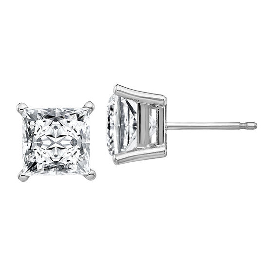 3 3/4 CT. T.W. White Moissanite 14K White Gold 7mm Square Stud Earrings