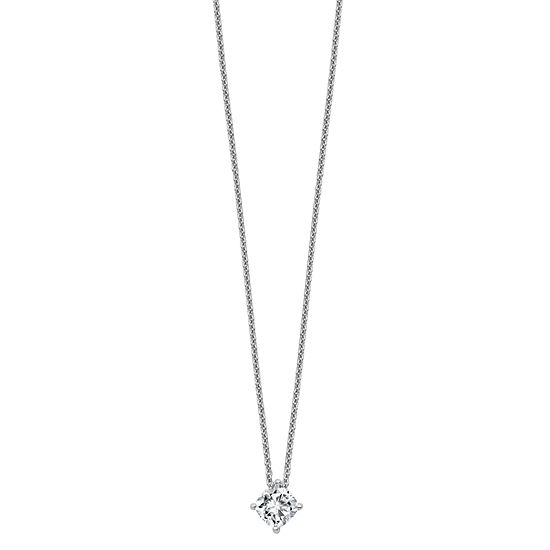 Womens 2-pc. 3/4 CT. T.W. White Moissanite 14K White Gold Square Pendant Necklace Set