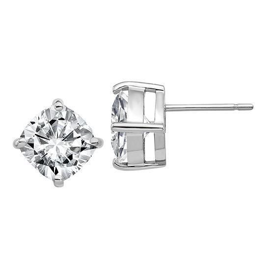 3 1/2 CT. T.W White Moissanite 14K White Gold 8mm Square Stud Earrings