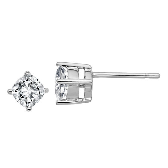 5/8 CT. T.W. White Moissanite 14K White Gold 4.5mm Square Stud Earrings