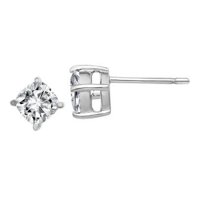 7/8 CT. T.W. White Moissanite 14K White Gold 5mm Square Stud Earrings