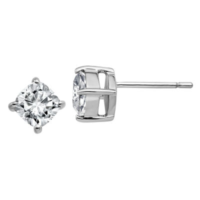 1 1/8 Ct. T.W. White Moissanite 14K White Gold 5.5mm Square Stud Earrings