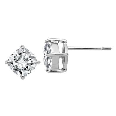 1 1/2 CT. T.W. White Moissanite 14K White Gold 6mm Square Stud Earrings