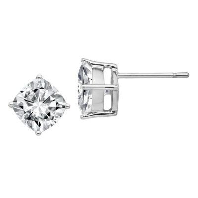 1 7/8 Ct. T.W. White Moissanite 14K White Gold 6.5mm Square Stud Earrings