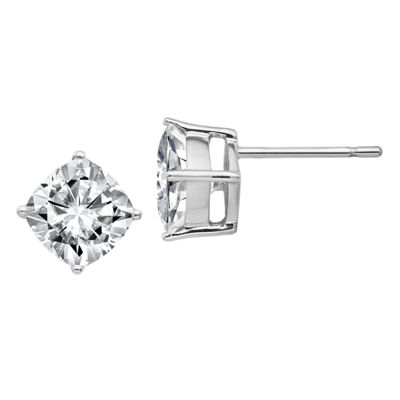 1 7/8 Ct. T.W. White Moissanite 14K White Gold 6.5mm Square Stud Earrings