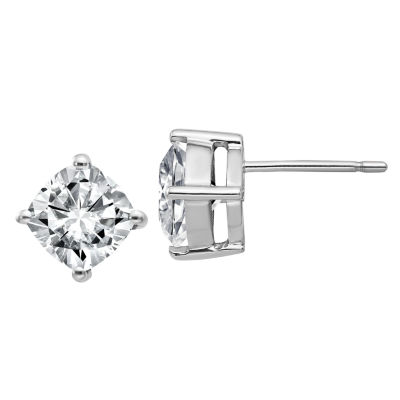 2 1/3 CT. T.W. White Moissanite 14K White Gold 7mm Square Stud Earrings