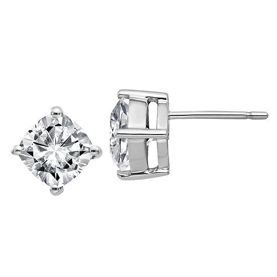 2 1/3 CT. T.W. White Moissanite 14K White Gold 7mm Square Stud Earrings
