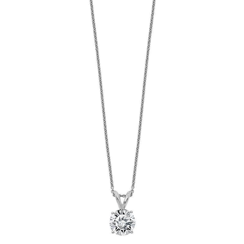 image of Womens 2-pc. 1 3/CT. T.W. White Moissanite 14K White Gold Round Pendant Necklace Set