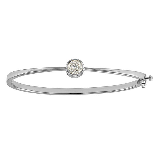 1 CT. T.W. White Moissanite 14K White Gold Round Bangle Bracelet