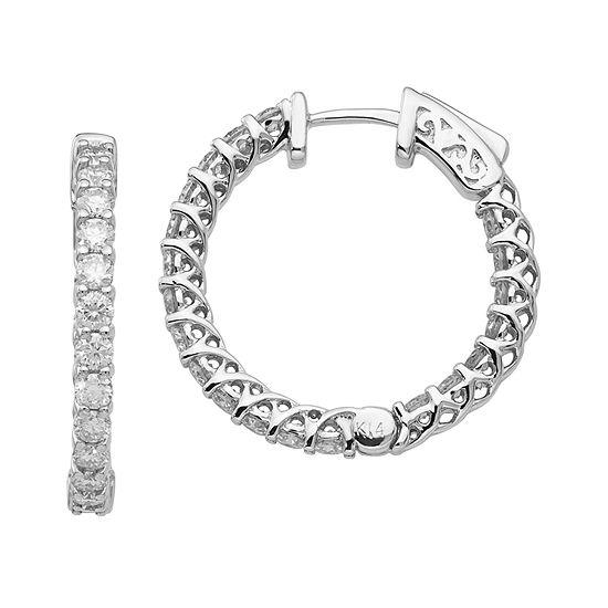 T W White Moissanite 14k Gold 19mm Round Hoop Earrings