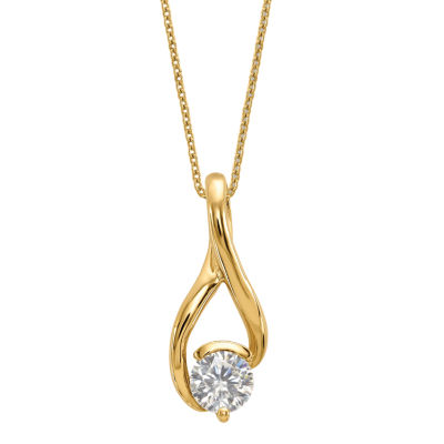 Womens 2-pc. 1 CT. T.W. White Moissanite 14K Gold Round Pendant Necklace Set